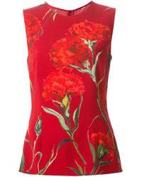 Dolce & Gabbana - Red Carnations Print Tank Top - Lyst