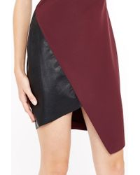 Liu Jo | Red Asymmetric Dress With Faux Leather Inserts | Lyst