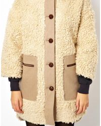 ASOS | Natural Long Line Curly Faux Fur Coat | Lyst