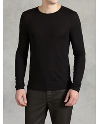 John Varvatos | Black Modal Wool Crewneck for Men | Lyst