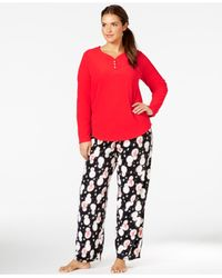 Hue | Black Plus Size Microfleece Top And Pajama Pants Set | Lyst