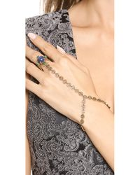 Tory Burch | Metallic Stone Ring Hand Chain - Bluegreenaged Gold | Lyst