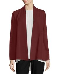 Eileen Fisher - Red Washable Wool Crepe Cardigan - Lyst