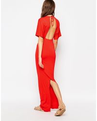 ASOS | Kimono Plunge Maxi Dress With Open Back - Red | Lyst