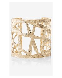 Express | Metallic Hammered Cutout Cuff Bracelet | Lyst