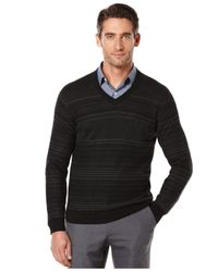 Perry Ellis | Natural Jacquard V-neck Sweater for Men | Lyst