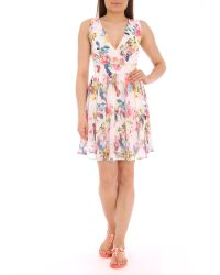 Pussycat - Bird Print Crossover Flared White Dress - Lyst
