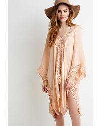 Forever 21 - Pink Oversized Crochet-paneled Poncho You've Been Added To The Waitlist - Lyst