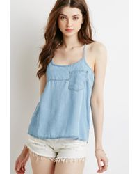 Forever 21 | Blue Chambray Y-back Cami | Lyst