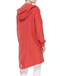 Eileen Fisher - Red Hooded Long Anorak Jacket - Lyst