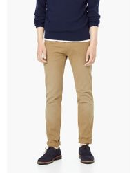 Mango - Brown 5-pocket Cotton Trousers for Men - Lyst