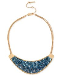 Kenneth Cole | Gold-tone Woven Blue Bead Crescent Frontal Necklace | Lyst
