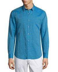 Theory Multicolor Zack Ps Long-sleeve Linen-blend Shirt for men