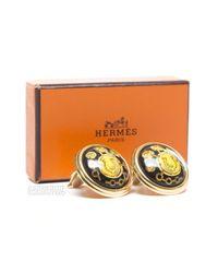 Hermès - Metallic Pre-Owned Horseshoe Enamel Clip On Earrings - Lyst