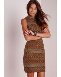 Missguided - Brown Textured Knit Bodycon Mini Dress Mustard Yellow - Lyst