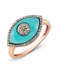 Anne Sisteron | 14kt Rose Gold Diamond Blue Topaz Evil Eye Ring | Lyst