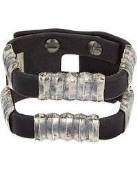 Rick Owens | Black Double Corregated Leather Bracelet | Lyst