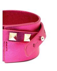 Valentino - Pink Rockstud Double Wrap Leather Bracelet - Lyst