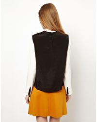 Peter Jensen | Black Bow Applique Top with Contrast Sleeves | Lyst