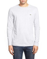 Lacoste | White Long Sleeve Pima Cotton T-shirt for Men | Lyst
