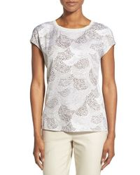 Nordstrom Collection - Brown 'darlington' Print Silk Drop Sleeve Top - Lyst