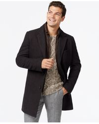 Tommy Hilfiger - Brown Wool Notch-collar Coat for Men - Lyst