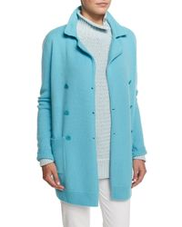 Loro Piana - Blue Double-breasted Long-sleeve Sweater Jacket - Lyst
