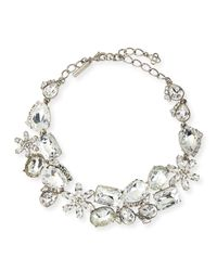 Oscar de la Renta | Metallic Crystal Necklace & Earrings | Lyst