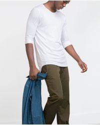 Zara | White 3/4 Sleeve Top for Men | Lyst