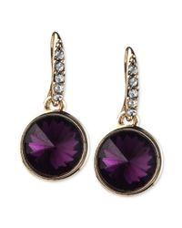 RACHEL Rachel Roy | Goldtone Purple Stone Drop Earrings | Lyst