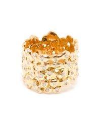 Natasha Collis - Metallic 18kt Rose Gold And White Diamond Cobble Ring - Lyst