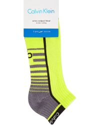 Calvin Klein | Yellow Medium Coolpass Cotton-blend Sports Socks, Men's, Green/grey/black for Men | Lyst