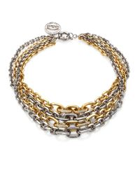 Giles & Brother - Metallic Two-tone Pave Multi-chain Necklace - Lyst