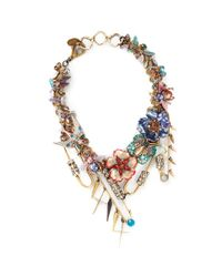 Erickson Beamon | Multicolor 'iron Butterfly' Mix Appliqué Safety Pin Necklace | Lyst