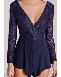 Missguided | Lace Top Long Sleeve Playsuit Blue | Lyst