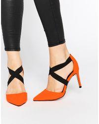 ASOS | Sterling Pointed Heels - Orange Patent/black | Lyst