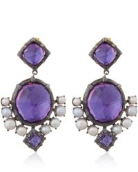 Larkspur & Hawk | Purple Silver Pink Amethyst And Pearl Bella Compass Earrings | Lyst