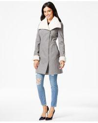 DKNY | Gray Faux-fur-trim Asymmetrical Walker Coat | Lyst