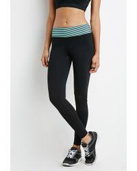 Forever 21 - Black Active Striped Waist Leggings - Lyst