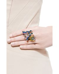 Lydia Courteille | Blue 18k Gold Kites Ring with Diamonds and Enamel | Lyst