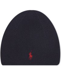 Ralph Lauren | Blue Ribbed Merino Wool Beanie for Men | Lyst