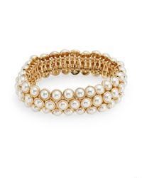 Anne Klein | Metallic Elysium Ii Faux Pearl Bracelet | Lyst