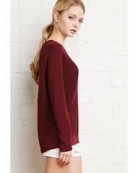 Forever 21 | Purple Waffle Knit Raglan Sweater | Lyst
