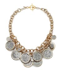 Kenneth Jay Lane - Metallic Framed Coin Cluster Charm Necklace - Lyst