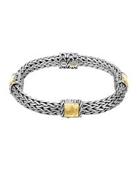 John Hardy - Metallic Classic Chain Palu Silver Bracelet With Gold Stations - Lyst