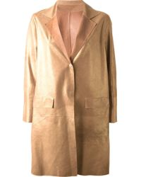 Sylvie Schimmel - Brown Single-Breasted Metallic Coat - Lyst