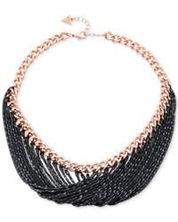 Guess - Black Rose Gold-tone And Hematite Chain Necklace - Lyst