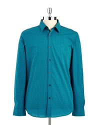 Calvin Klein | Blue Checkered Button-Down Shirt for Men | Lyst