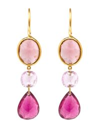 Marie-hélène De Taillac - Pink 22kt Yellow Gold Drop Tourmaline Earrings - Lyst