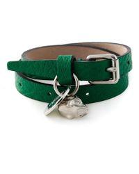 Alexander McQueen - Green Double Wrap Skull Bracelet - Lyst